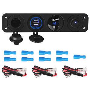 4-in-1-Dual-USB-Zigarettenanzuender-Steckdose-LED-Ladegeraet-Adapter-Auto-Boot-RV