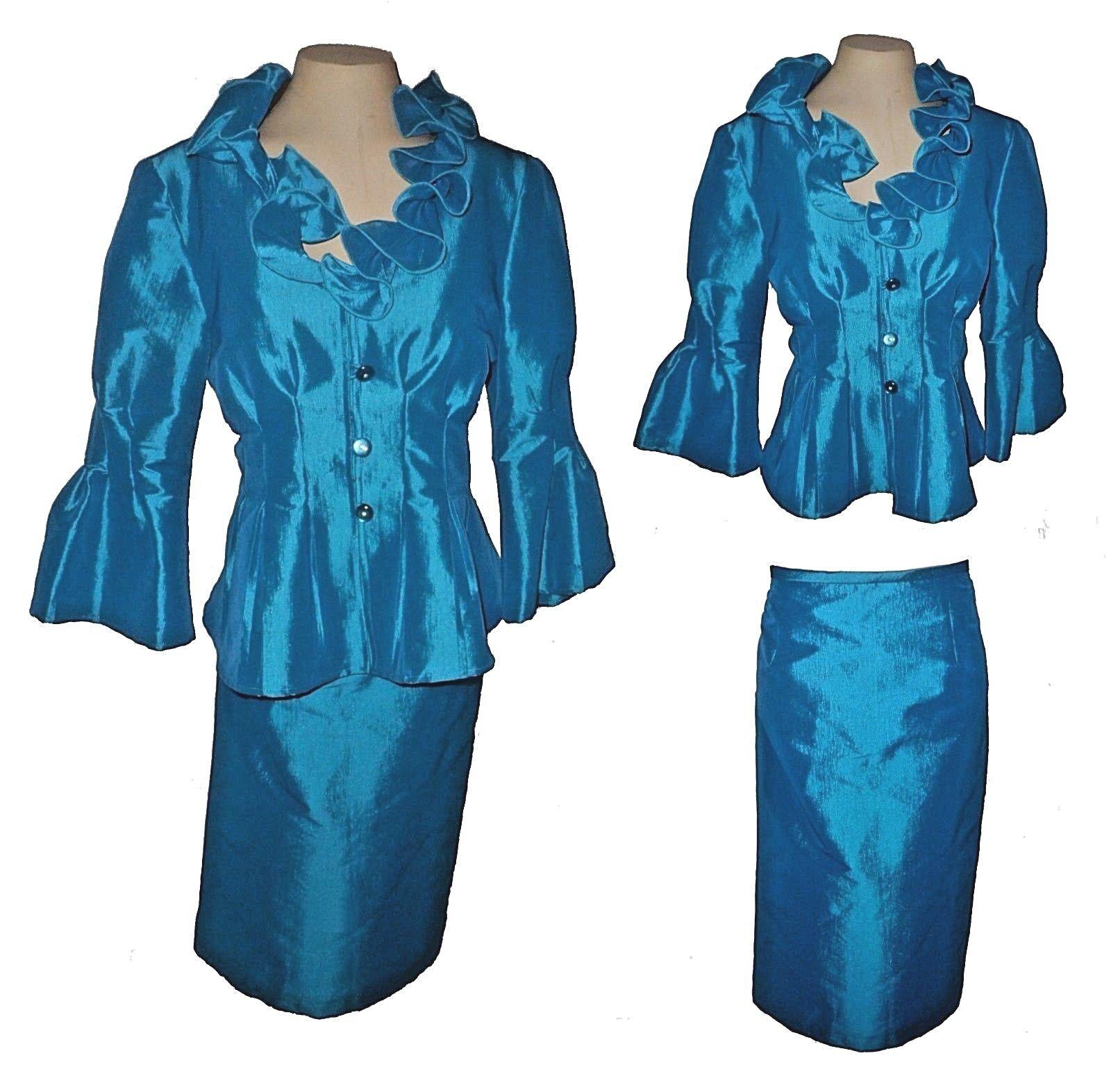 New 2-PC Suit  Skirt Blazer, Nicolette, Ruffled-Collar Pleated-Waist Taffeta 10