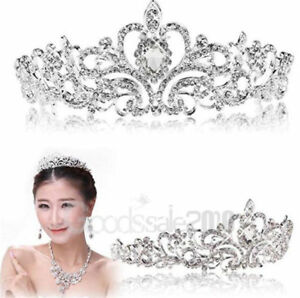 Bridal-Princess-Austrian-Crystal-Tiara-Wedding-Crown-Veil-Hair-Accessory-Silver