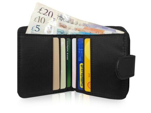 Zipped Coin Section RFID Protected 6 Cards Black Small Leather Ladies Purse