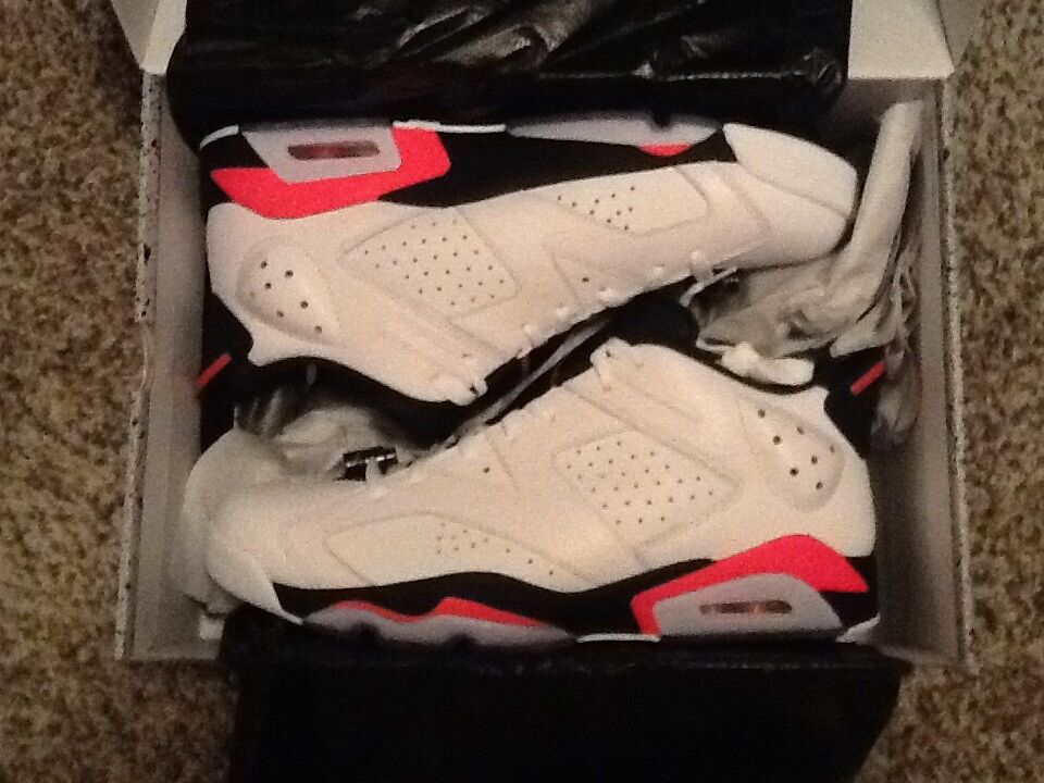 Nike Air Jordan Retro 6 Low VI Infrared 23 White Black Size 11.5 - 304401-123