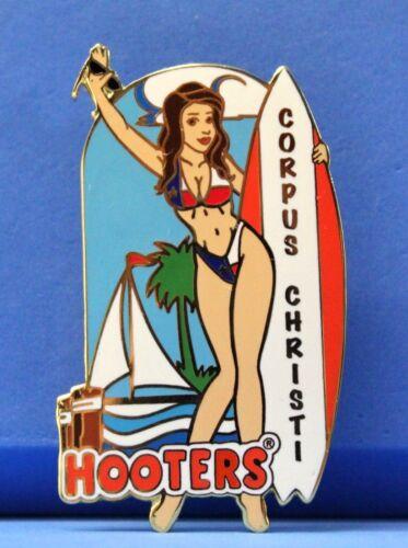HOOTERS BRUNETTE GIRL CORPUS CHRISTI TX TEXAS BIKINI//BOAT//SURFBOARD LAPEL PIN