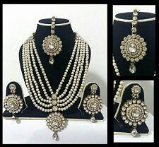New Indian Costume Jewellery Necklace Earrings Set Pearl Design Wedding Wear