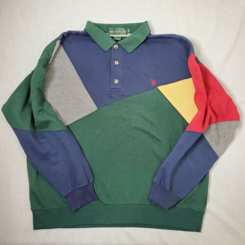Vintage 90s Tommy Hilfiger polo color block rugby short sleeve shirt orange and navy blue TH tommy hilfiger athletics collegiate preppy