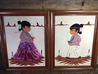 Nativo Niño Niña Enmarcado 3d Art Materials Fieltro Ropa Lona Textil 36.8cmx To Adopt Advanced Technology Other