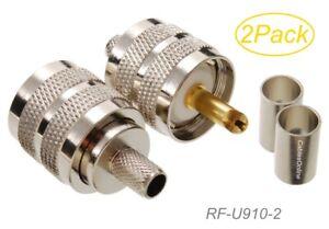 RF-U910-10 10-Pack UHF PL-259 Male Crimp Type 50-Ohm RF Connectors for RG8X LMR240 Coax Wire CablesOnline