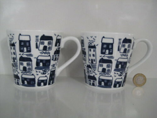 2 X MARKS & SPENCER M&S SEASIDE BEACH HOUSE DESIGN TEA COFFEE BLUE & WHITE MUGS