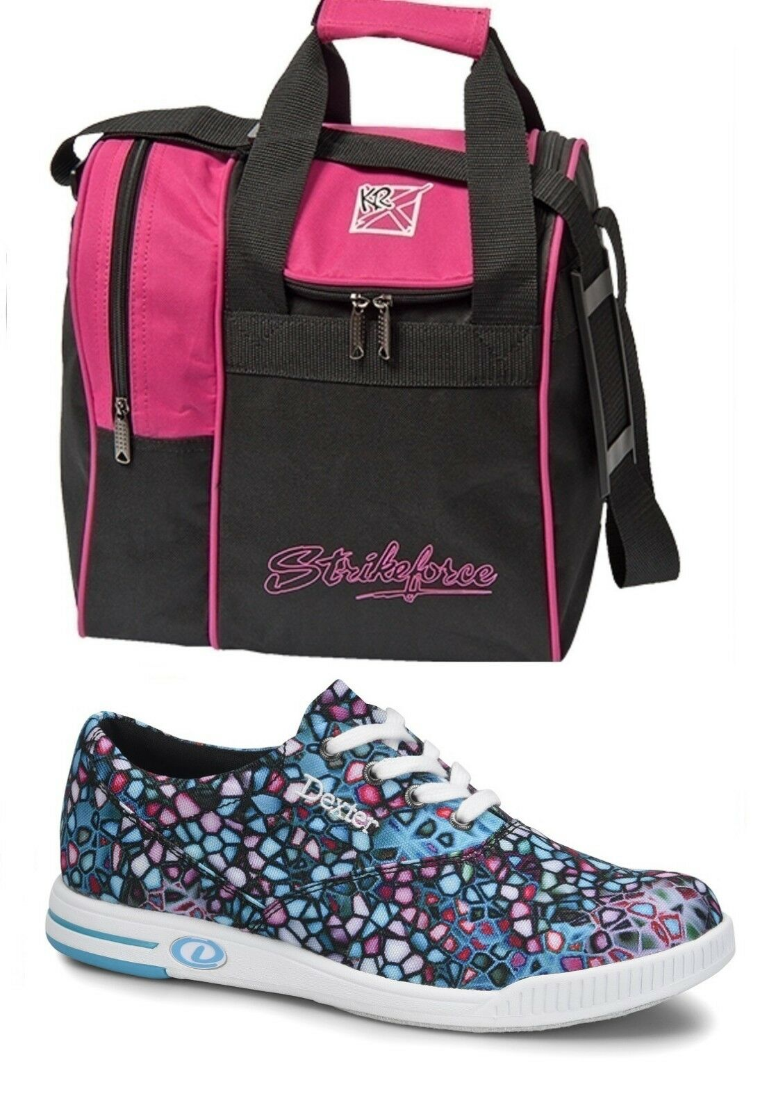 Womens Dexter KERRIE Multi-color Bowling shoes Sizes 6-11 & Pink 1 Ball Bag