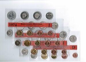 1Pf. Hasta 5DM 1974 J Alemania / Rfa / Kurssätze sin Circulación