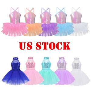 US-Sequins-Girls-Kids-Ballet-Dance-Leotard-Dress-Ballerina-Tutu-Skirt-Dancewear
