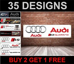 Audi Quattro Workshop Garage Banner, TT, RS3, RS4, RS5, RS6, RS7, R8