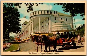 Vintage Largest Summer Hotel,Grand Hotel, Mackinac Island, Michigan, MI Postcard