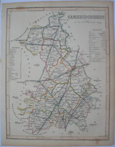1840s-ENGLISH-COUNTY-MAP-BY-J-ARCHER-CAMBRIDGESHIRE