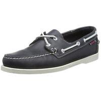 Sebago Mens Docksides Shoes Navy Leather Handsewn Boat Shoe B72722