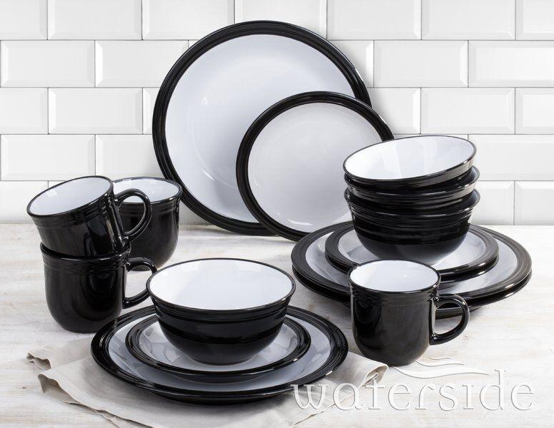 Camden 16 PEZZI nero Dinnerware Set con tazza, Servizio per 4