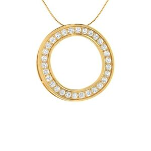 0-75-Ct-Round-Diamond-Full-Eternity-Pendant-Necklace-14k-Yellow-Gold-GP-Jewelry