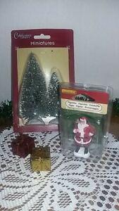 Lemax Santa Claus Holding Toybag 52111 NIP With 2 Village Trees&2 Foil Pkgs