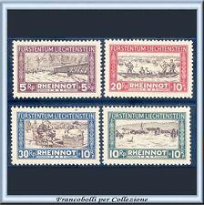 1927 Liechtenstein Pro Vittime Straripamento Reno n. 78/81 Nuovi Integri **