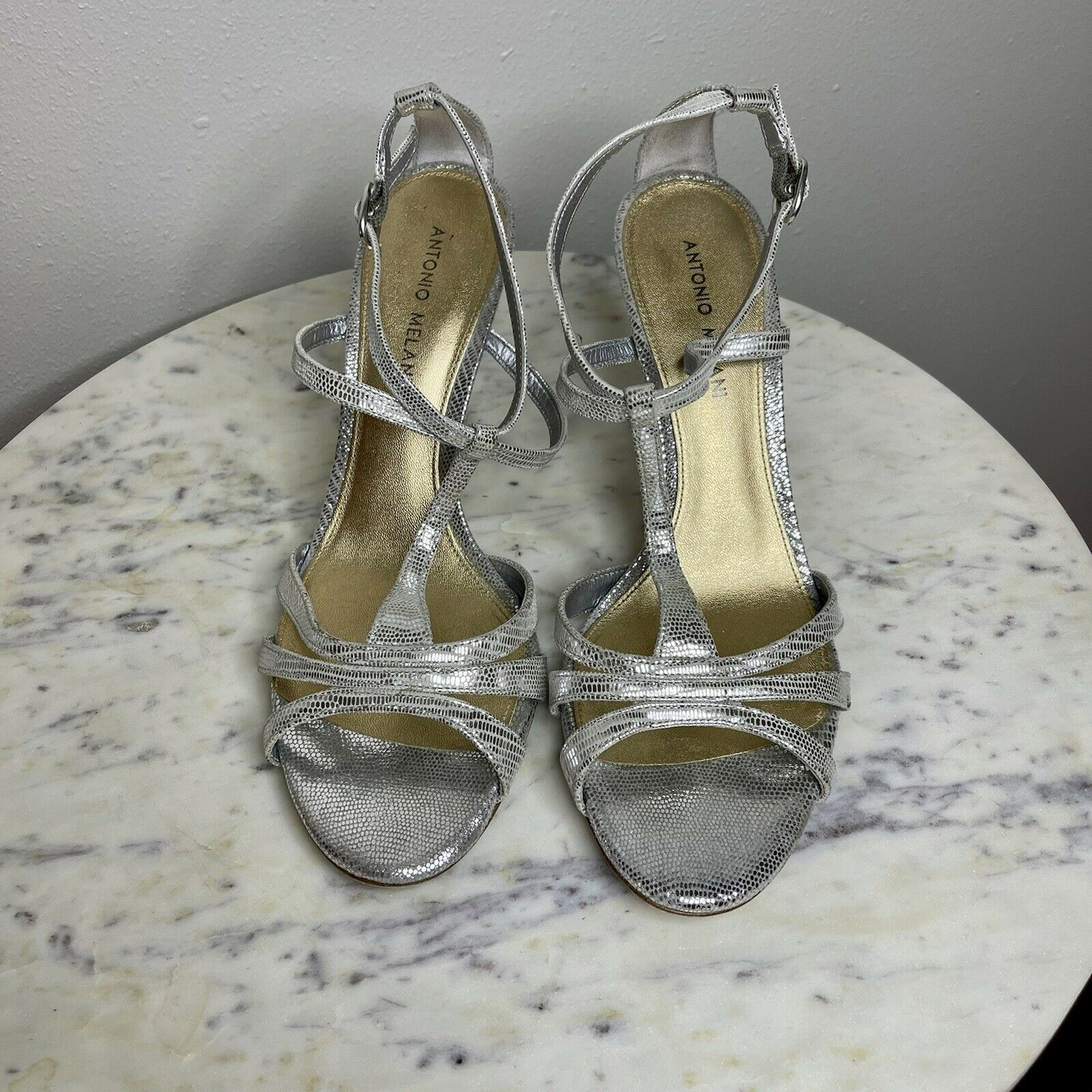 Antonio Melani Sz 9.5 M Leather Silver Sandals Heels Strappy Metallic -R1