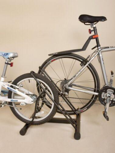 Floor Stand Bicycle Bike Two Rack Holder Storage Steel Black Parking Garage New