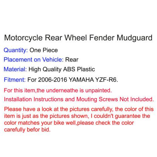 Rear Wheel Tire Hugger Fender Mudguard ABS For 2006-2016 YAMAHA YZF R6 RJ11 RJ15