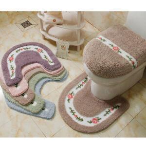 Soft Floral Non-Slip Toilet Contour Rug U-shaped Floor Toilet Lid Cover Mat Set