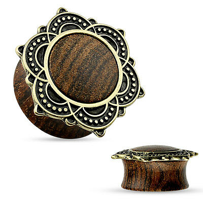PAIR Rose Wood Plugs  w/Rose of Sharon Top Plugs Earlets Gauges Body Jewelry