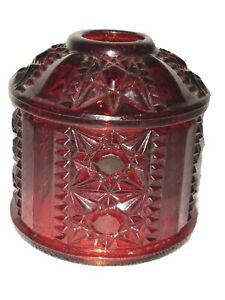 Vintage-Fairy-Lamp-Shade-Only-Red-034-Stars-amp-Bars-034-Indiana-Glass-Co