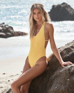 f0a8d2da88 Ellejay Women`s Swimwear Thais One Piece Yellow Textured Bathing ...