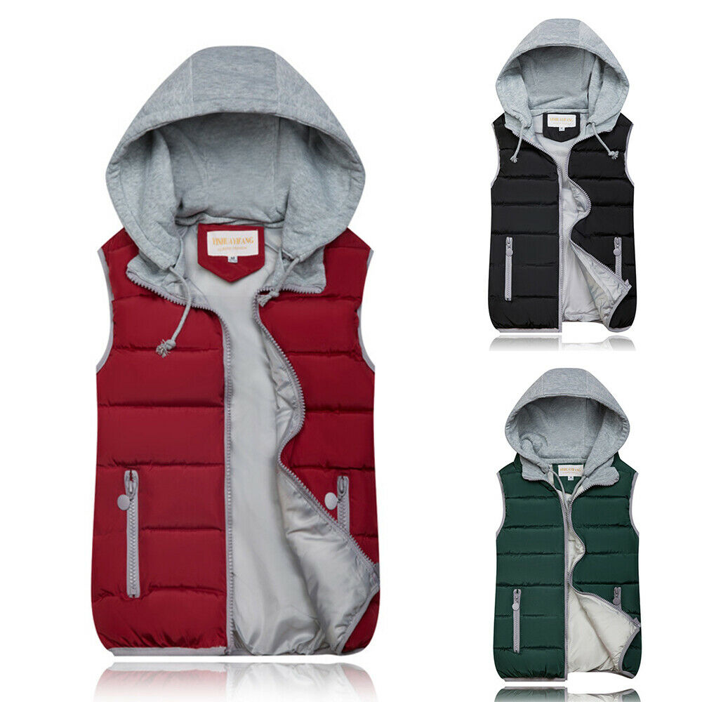 Womens Hooeded Gilet Quilted Padded Coat Ladies Sleeveless Body Warmer Outerwear