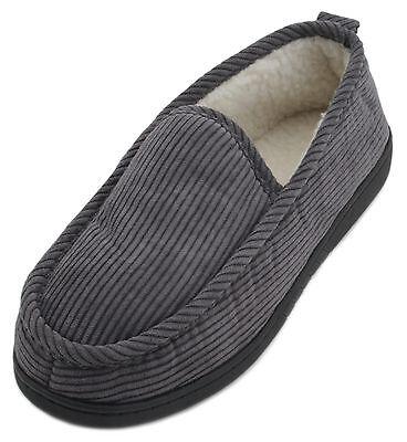 Slumberzzz Para hombre Zapatillas de pana Borg Forrado Completo Nuevo