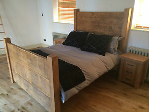 New Chunky Rustic Double Daddy Plank Bed Solid Wood Bespoke