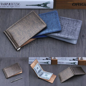 0cae2d41f8b0 Men Slim Folio Wallet Money Clip Leather Cash ID Credit Card Holder ...