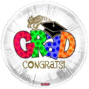 Grad-Congrats-18-034-Foil-Graduation-Balloon-for-Helium-Fill-New-amp-Sealed