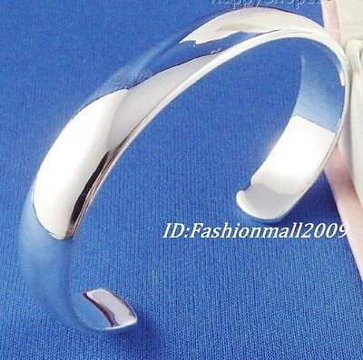 Beautiful Thick 925 sterling silver smooth cuff bangle bracelet