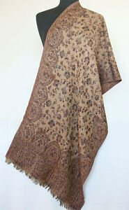 Scarf-or-Shawl-Brown-Wool-Paisley-Jamavar-India-Jamawar-Wrap-or-Stole