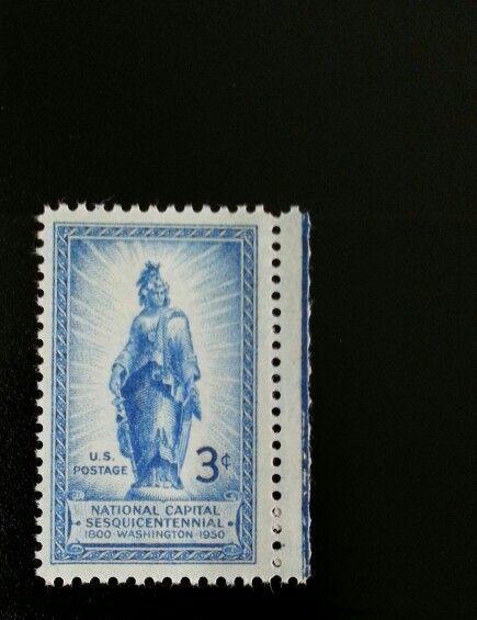 1950 3c Freedom Statue, Capitol Dome Scott 989 Mint F/V