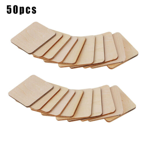 50x Wooden Coaster Plain Wood Craft Blank Square Unfinished Plaque DIY Craft Kit
