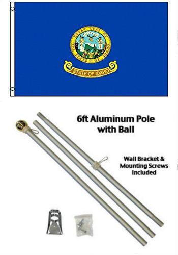 2x3 2/'x3/' State of Idaho Flag Aluminum Pole Kit Gold Ball Top