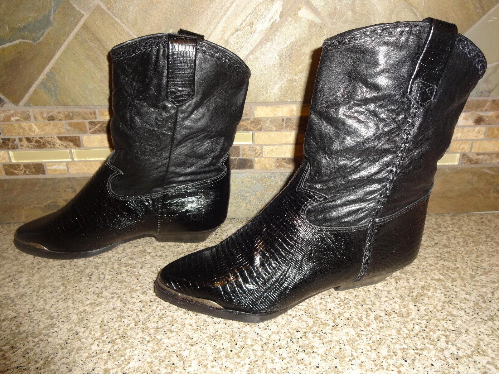 NEW Womens ZODIAC Sz 6.5M Black Leather Lizrd Pattern Pattern Pattern Cowboy Boots Fancy Tips 97054c