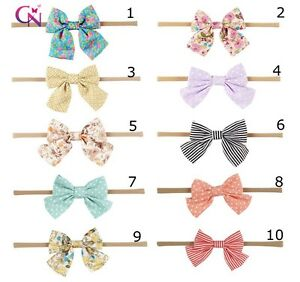 Newborn-Nylon-Bow-Baby-Girl-Toddler-Child-Kid-Stretch-Headband-Hair-Accessory