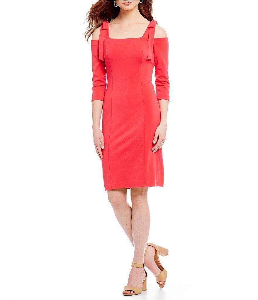 NWT Eliza J Cold Shoulder Sheath Dress damen Größe 0 Party Cocktail  Hot Rosa