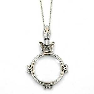 Silver magnifying glass antique butterfly pendant 31 chain necklace image is loading silver magnifying glass antique butterfly pendant 31 034 aloadofball Image collections