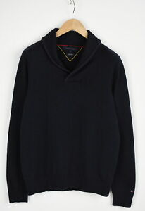 TOMMY-HILFIGER-COTTON-Wool-Men-LARGE-Wool-Blend-Shawl-Pullover-Sweater-28216-S