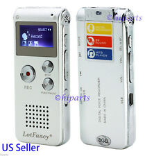 8GB Digital Audio Voice Activated Recorder Dictaphone Rechargeable Backlight