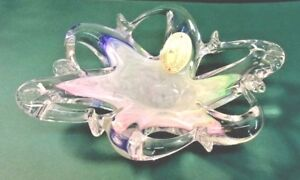 MURANO-Art-Glass-Freeform-Dish-Bowl-Iridescent-Pastels-Gold-and-Red-Label-SALE