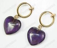 CLIP ON look pierced AMETHYST HEART EARRINGS gold fashion GEMSTONE purple quartz