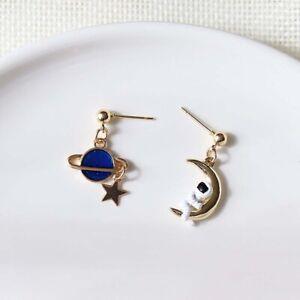 Moon-Star-Tassel-Asymmetric-Stud-Astronauts-Lovely-Earrings-For-Women-Jewelry