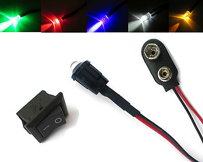 Model Railway White, Red, Blue, Green, Yellow LED 5mm + Switch + PP3 12V