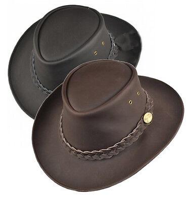 AUSTRALIAN LEATHER BUSH HAT OUTBACK COWBOY 2 COLOURS BLACK £20.50 FREE POST